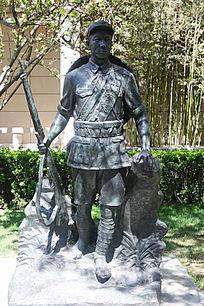 八路军战士执枪站姿铜雕
