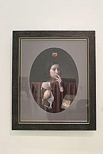 少女与静物油画