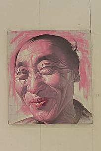 微笑男性五官特写油画