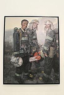 消防员油画写生