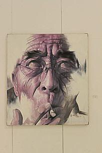 吸烟戴眼镜男性五官特写油画