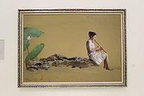 中式禅韵吹箫少女油画