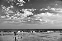 海边沙滩天空流云