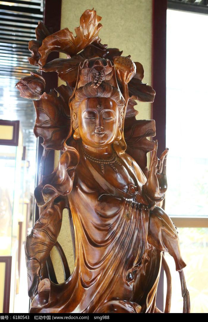 木雕菩萨雕像