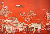 北普陀影视城墙画