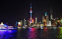 上海陆家嘴建筑群夜景风光