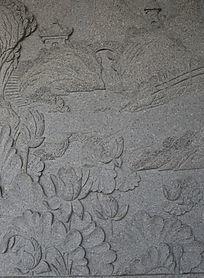 亭台花纹图案石雕