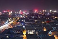节日中的城市万家灯光打亮夜空
