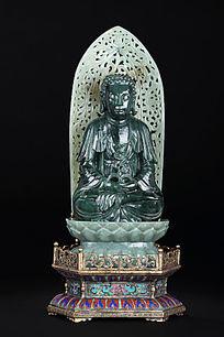 欧洲回流和田碧玉精工整雕释迦摩尼佛像