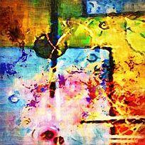 色块抽象油画 数码印花