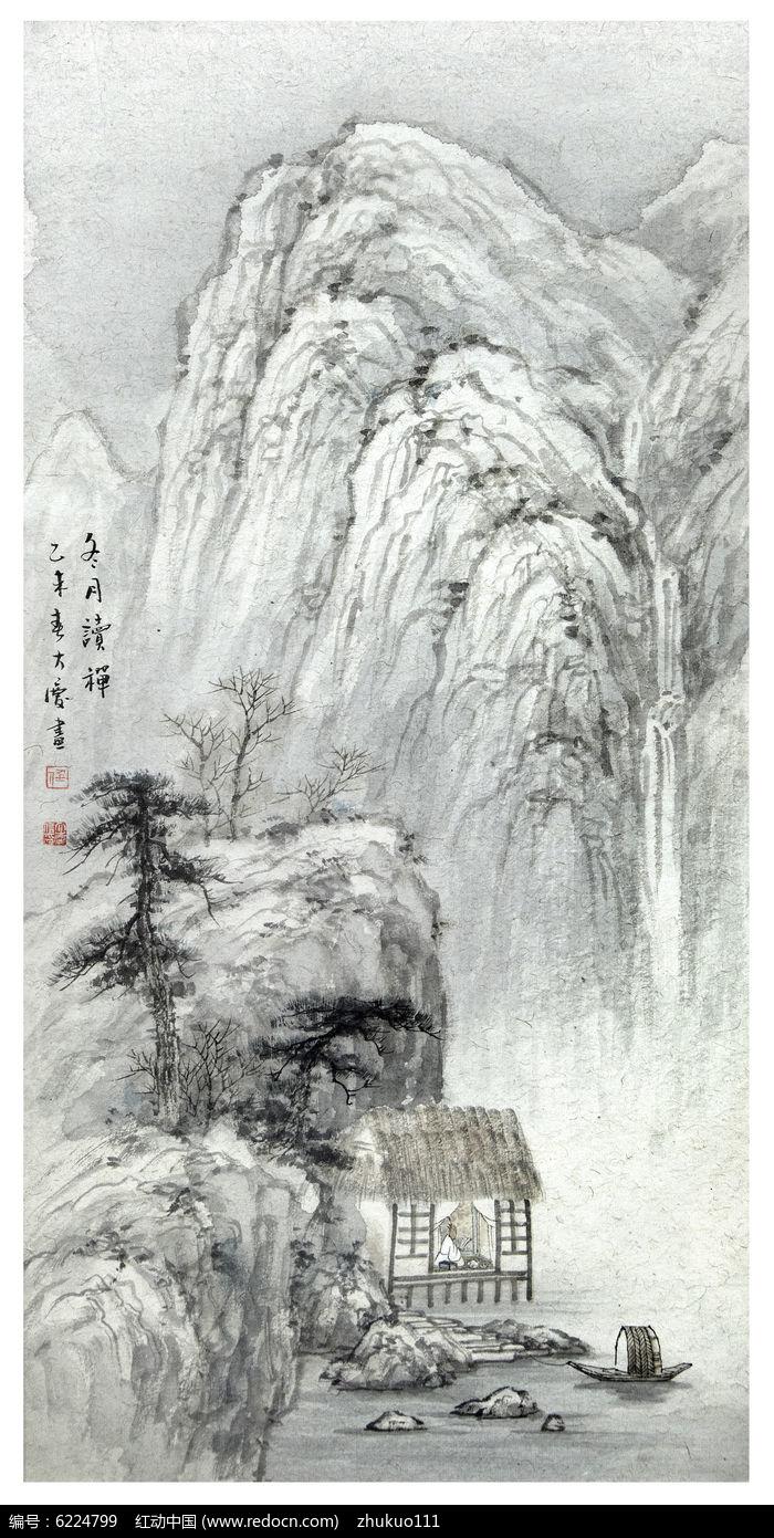 国画山水冬景图片,高清大图_插画绘画素材