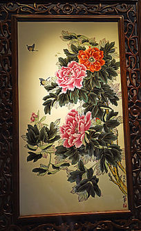 花开富贵瓷板画