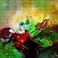 绿色森林抽象油画