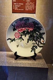 牡丹花釉上彩瓷板画