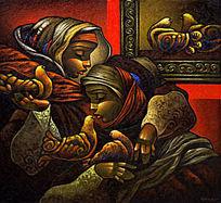 油画女人与鸽子