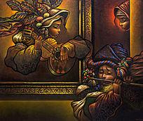 油画女人与吉他