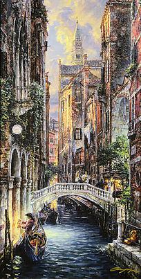 油画威尼斯黄昏