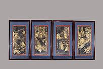 民国木胎髹漆三国人物刀马纹四条屏