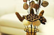 风干的莲子插花艺术