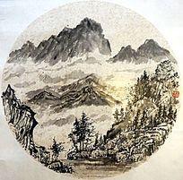 山坡风景国画