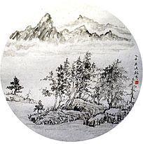山坡风景画