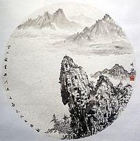 山坡水墨画