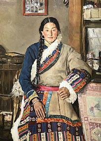 油画藏族少妇 油画女子肖像 藏族女子