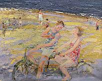 油画浪漫海滩
