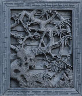 墙雕石刻梅竹