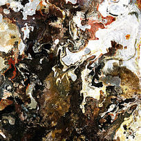 黑白抽象油画 流彩画