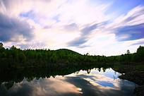 森林湖夜云