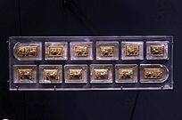 水晶嵌金舞狮纹带板