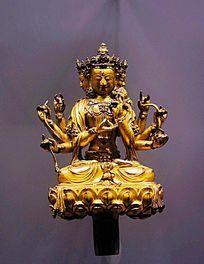 永乐款铜鎏金八臂坐佛像
