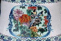景泰蓝菊花喜鹊图