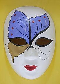 蓝色蝴蝶图案面具标本