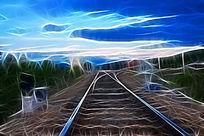 电脑画《小站铁轨》