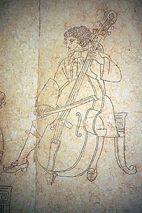 拉大提琴的演奏者壁画