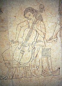 拉提琴的女子壁画