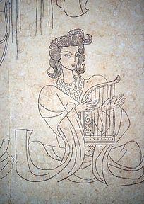 竖琴演奏女子壁画