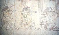 演奏小提琴的女子壁画