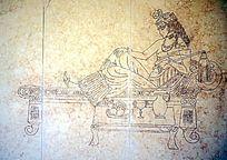 依床的贵妇壁画