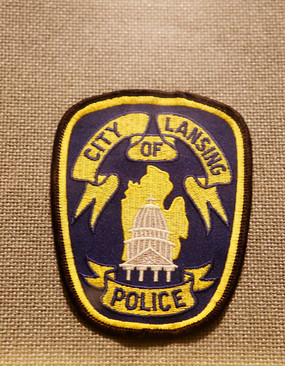 美国警察臂章方形绶带建筑图案