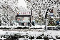 学校门口雪景