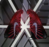 红色运动鞋创意展示
