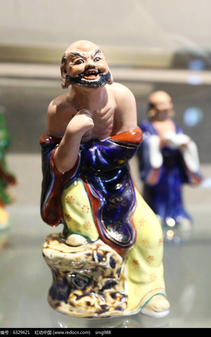 彩色瓷雕赤膊鲁智深雕像图片
