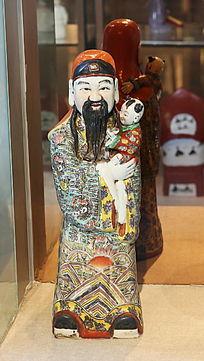 彩色瓷雕福星站姿雕像