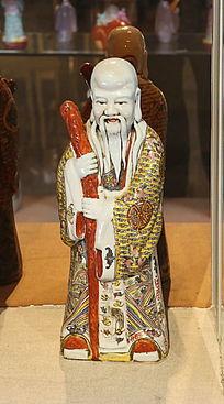彩色瓷雕寿星站姿雕像