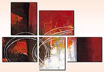 客厅背景墙无框画组合画三联抽象画