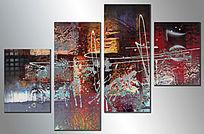 三联抽象画 无框画抽象油画