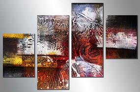 三联抽象画 无框画 油画抽象 抽象油画